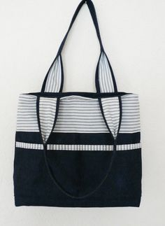 Blue and white denim tote with pockets £18.00