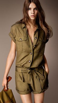 BURBERRY  Yellow olive Silk Linen Utility Playsuit