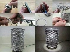 Lamp shade made from pop tabs :) pretty neato