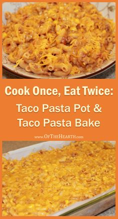 Make two meals in one pot with this easy recipe that yields two affordable, family-friendly dishes: Taco Pasta Pot and Taco Pasta Bake. Costs $1.64 per serving.