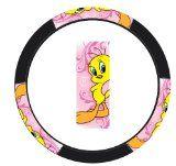 Tweety Bird Happy in Pink Car Truck SUV Steering Wheel Cover