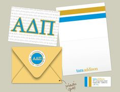 The ultimate sorority girl pack! ADPis, check out these personalized folded note cards, mailing envelopes, and return address labels --designed specifically for you and your sisters!! Enjoy!!