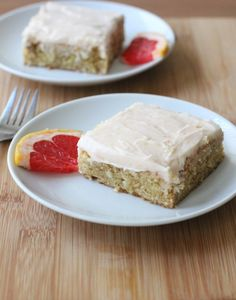 Add some citrus to satisfy your sweet tooth! These blondies are studded with white chocolate and topped with a creamy, sweet red grapefruit frosting.