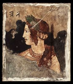 Head of an elegant Etruscan lady. Frescoe from the Etruscan tomb in Tarquinia, C.150 B.C