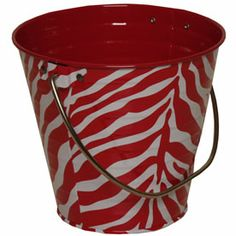 Pink zebra stripe metal pail bucket - cute for party favors