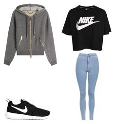 """#nike"" by kkmahony ❤ liked on Polyvore featuring Burberry, NIKE and Topshop"