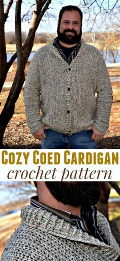 The Cozy Coed Cardigan is the perfect crocheted cardigan for MEN or for WOMEN! Sizes Adult SMALL to 3XL (and all of the TALLS as well)! #crochet #crochetpatterns #pattern #cardigan