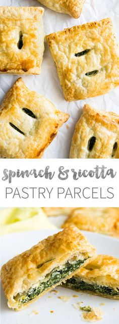 Spinach Ricotta Puff Pastry Parcels - perfect little snacks that can be made in advance!