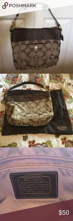 """Coach purse Coach handbag with dust bag. Great used condition. 10 1/2"""" tall, 14"""" long, 5"""" wide. Coach button on front is scratched in the very middle. On the bottom four corners looks a little worn from setting it down. No tears or stains. Coach Bags Hobos"""