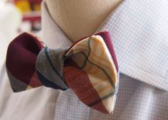 Ties – Bow tie - Freestyle bow tie in cotton check – a unique product by YourSomethingNew on DaWanda
