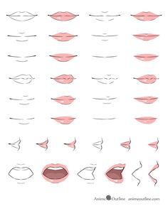 Manga Drawing Tips Anime lips drawing examples Anime Drawings Sketches, Pencil Art Drawings, Manga Drawing, Cartoon Drawings, Cute Drawings, Drawing Faces, Anime Mouth Drawing, Manga Mouth, Open Mouth Drawing