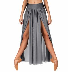 Double Platinum Adult Emballe Long Mesh Skirt with Attached Brief