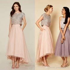 2016 Two Pieces Bling Bridesmaid Dresses Jewel Neckline Capped Sleeves Shiny Sequined Bodice A Line High Low Brush Chiffon Evening Dresses Couture Bridesmaid Dresses Flowy Bridesmaid Dresses From Garmentfactory, $81.41| Dhgate.Com