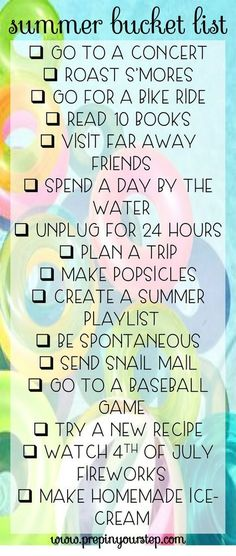 Prep In Your Step: Summer Bucket List