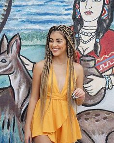 Picture of Malu Trevejo Dookie Braids, Afro Braids, African Braids, Malu Trevejo Outfits, Cute Outfits, Little Girl Box Braids, Curly Hair Styles, Natural Hair Styles, Queen Outfit