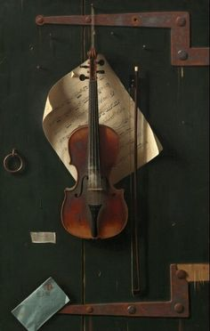 """If you were to add one object to this still life, what would it be and why? William Michael Harnett, """"The Old Violin,"""" oil on canvas Violin Art, Violin Music, Art Music, Violin Painting, Violin Store, Tole Painting, Sound Of Music, Music Is Life, Musica Celestial"""