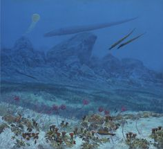 Ordovician Sea Floor, Doug Henderson, 2004, for the Florida Museum of Natural History  The cephalopods drift over the garden as jets do in a city sky: confident, deliberate, direct. Below them, crinoids and corals sway with the ocean currents; the water is active near the continental shelf, with upwellings and internal waves. Starfish crawl between coral and weeds, and fish, jawless torpedoes of bone and scale, linger near the lilies. Unlike the cephalopods—because of the cephalopods—the…