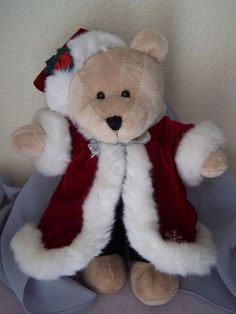 $9.94 Sh Free.Holiday Christmas 2004 Plush Bear Starbucks Co. Collectible Velvet Suit #Christmas #starbucks