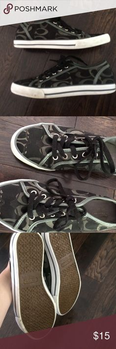 Black Coach tennis shoes PLEASE NOTE- They are in fairly good condition, but do have some slight flaws. Heel on one shoe is bumpy. (Like the fabric on the inside folded over) im sure you could fix it if you tried hard. Leather is a little chippy. Shipped same day.  Help my fiancé and I save up for our wedding All purchases are shipped carefully and thoughtfully  Smoke- free home ❗️Bundle to save on SHIPPING & TOTAL  Serious and reasonable offers only (no more  than 10% of listing price!)  NO…