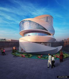 A Contemporary Buddhism Temple in Taichang, China by Miliy Design. Mobius ring is used as the metaphor of reincarnation in this design. The inner surface and outer surface meets in the same point seamlessly. This process is just like the reincarnation in Buddhism. Circulation revolves from outside to inside through the space just like the reincarnation through different life forms.