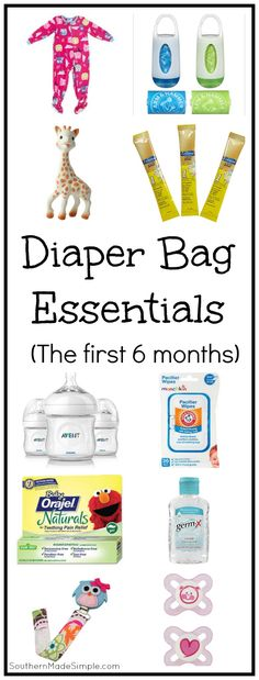 A complete packing list of essentials you'll definitely want with you in your diaper bag during baby's first 6 months!
