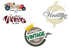 Vintage Toy store logo's using the Pepsi logo and Burger king logo as inspiration.