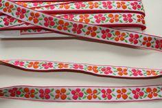 3 meters Flowers embroidery fabric ribbon by betweeneedlesandpins on Etsy, $5.45