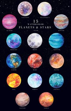 ad: Blackstar - watercolor space set by Kaleriiat on Space Watercolor, Watercolor Background, Constellations, Solar System Art, Planet Painting, Planet Drawing, Planets Wallpaper, Space And Astronomy, Foto Art