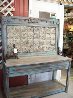 Shed DIY - poting bench or s tore display or? old tin old wood from a bed Now You Can Build ANY Shed In A Weekend Even If You've Zero Woodworking Experience! Furniture Projects, Furniture Makeover, Diy Furniture, Wood Projects, Furniture Plans, Garden Furniture, Outdoor Furniture, Tin Tiles, Tin Ceiling Tiles