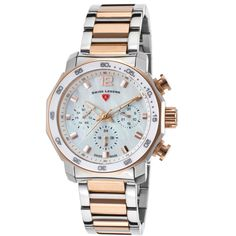 Swiss Legend Blue Geneve Multi-Function Two-Tone Stainless Steel Mop... ($130) ❤ liked on Polyvore featuring jewelry, watches, swiss legend watches, two tone watches, blue dial watches, rose crown and rose watches