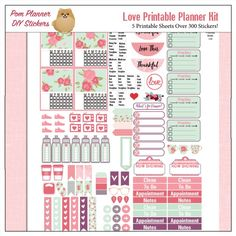 Love Printable Planner Kit in Pink & Green February Valentine, Roses, Hearts, Flowers, Mason Jars, 5 PDF Bible Journaling love Icons #pomplanner