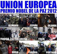 UE: Premio Nóbel de la Paz 2012 Comic Books, Comics, World, Cover, Movie Posters, Nobel Peace Prize, Ireland, Door Prizes, France
