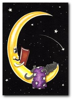 Bed Time Story Grey Cat on Moon Blanket of Stars - ArT by BiHrLe LE Print ACEO