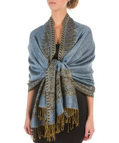 Look what I found on #zulily! Blue & Gold Paisley Shawl by Sakkas #zulilyfinds