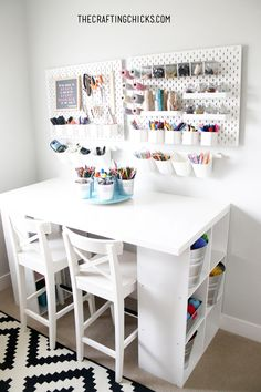 If you are looking for Craft Room Design inspiration, you've found it. With pops of color and fun floral touches, this is the craft room of my dreams. Craft Room Design, Design Desk, Library Design, Design Crafts, Design Room, Design Kitchen, Room Inspiration, Design Inspiration, Space Crafts