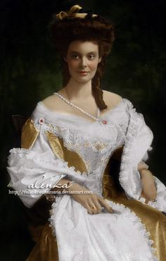 These colorized versions are gorgeous! Crown Princess Cecilie by ~VelkokneznaMaria on deviantART Princess Victoria, Princess Mary, Russian Wedding, Victorian Lace, Anastasia, White Image, Ice Queen, Vintage Images, Rey