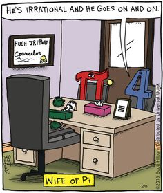 """Forget """"Wife of Pi""""--the marriage counselor... he's a DIVISION sign! And his name? Hugh JriPov (huge rip-off)"""