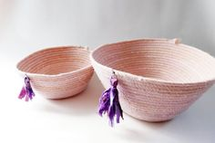 Boho Coiled Basket Set Hand Dyed Fabric Coil by LauraLoxley