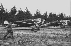Finnish fighter Messerschmitt Bf.109G-6 parked airfield Utti