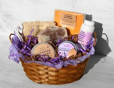 Lavender Bouquet Bath & Body Gift Basket Soap by NaturisticBath