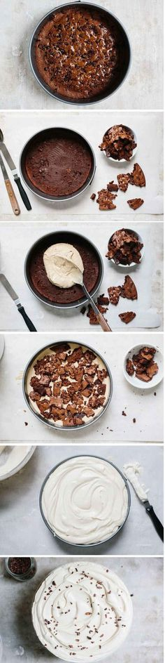 And here's how to make it: | Easy Brownie-Ice Cream Cake Anyone Can Make