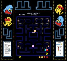 Gameplay image of Pac-Man, an arcade video game by Namco 1980
