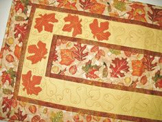 Autumn Table Runner Fall Leaves applique  by PicketFenceFabric, $48.00