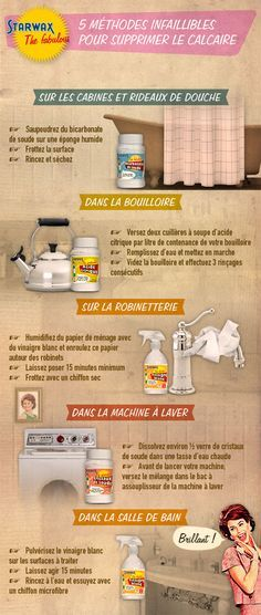 Starwax-the-Fabulous-infographie-calcaire. Cleaners Homemade, Diy Cleaners, Diy Cleaning Products, Cleaning Hacks, Diy Organisation, Glass Cooktop, Desperate Housewives, Cleaning Business, Tips & Tricks