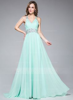 Prom Dresses - $136.99 - A-Line/Princess V-neck Sweep Train Chiffon Prom Dress With Ruffle Beading Sequins (018047448) http://jjshouse.com/A-Line-Princess-V-Neck-Sweep-Train-Chiffon-Prom-Dress-With-Ruffle-Beading-Sequins-018047448-g47448
