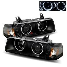 92-98 BMW E36 2 Door Twin CCFL Halo Projector Headlights - Black