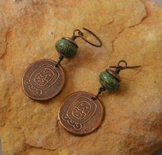 Handcrafted Artisan Jewelry, Handmade Copper Mayan Symbol Dangle Earrings, Sundance Style. $22.00, via Etsy.
