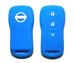 SAVE $8.1 - #Nissan Blue Silicone Protecting Key Case Cover Fob Holder for Xterra Murano Titan Maxima Altima Frontier Versa 3 Buttons Single Pack $16.90