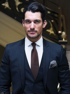 Dashingly handsome: David Gandy looked his usual good looking self as he arrived for the fashion event