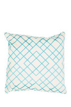 "Modena Moroccan Pattern Cotton 20"" Pillow - Ivory/Blue"